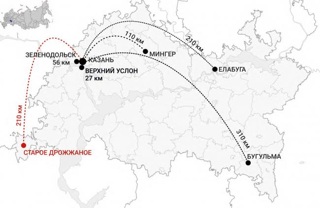 Improvement project of Staroe Drozhanoe. Location plan © UNK project