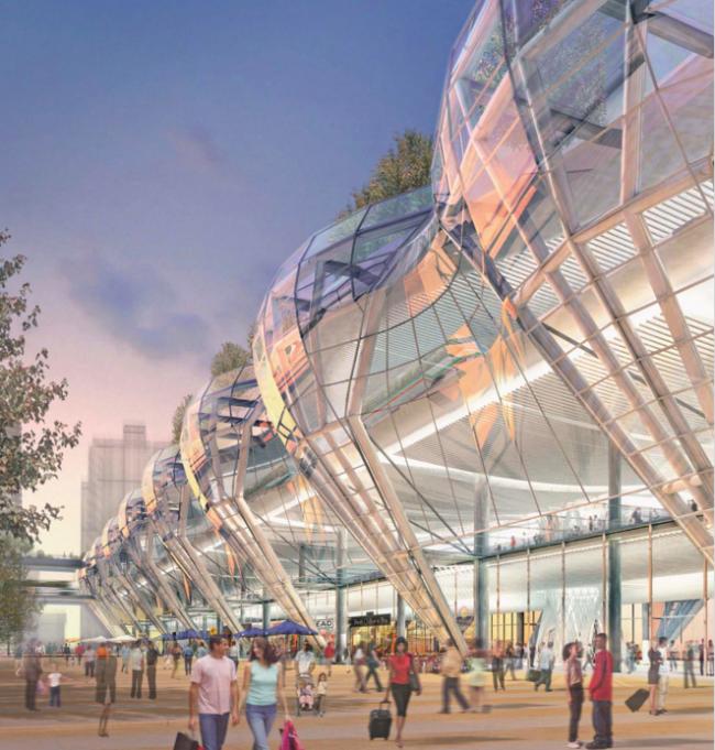 Транспортный центр Трансбэй. Боковой фасад © Pelli Clarke Pelli Architects
