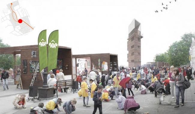 Improvement project of Staroe Drozhanoe. Central square © UNK project