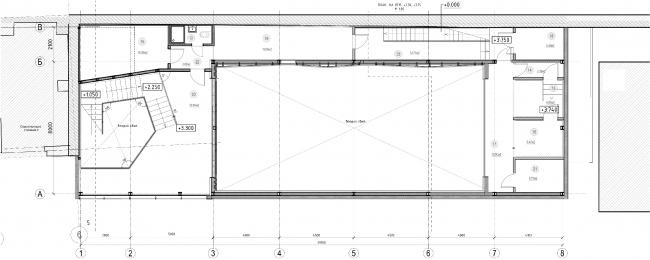 Зал Малой сцены, проект. «Электротеатр Станиславский». План на отм. +3.30, +3.75 © Wowhaus