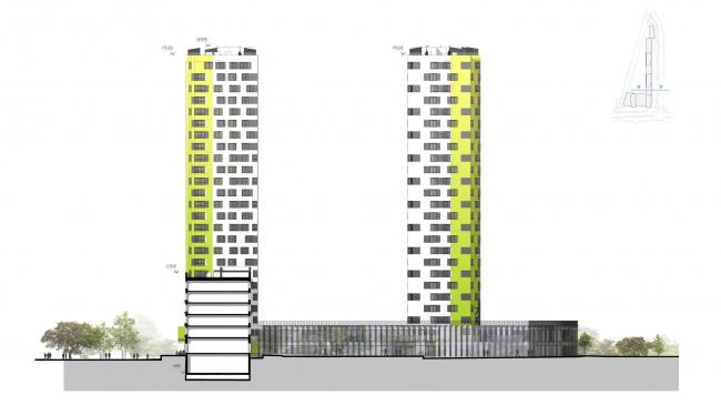 """Housing complex """"Russia. Five Capitals"""". Facade, Units 1 and 2 © A.Len"""