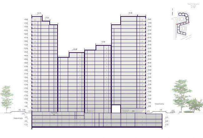 "Housing complex ""Russian Avant-garde"". Section 3-3. Project, 2016 © A.Len"
