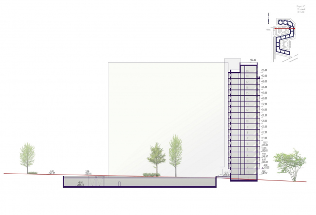 "Housing complex ""Russian Avant-garde"". Section 5-5. Project, 2016 © A.Len"