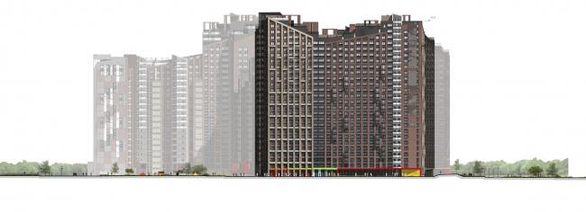 """Housing complex """"Russian Avant-garde"""". Facade. Project, 2016 © A.Len"""