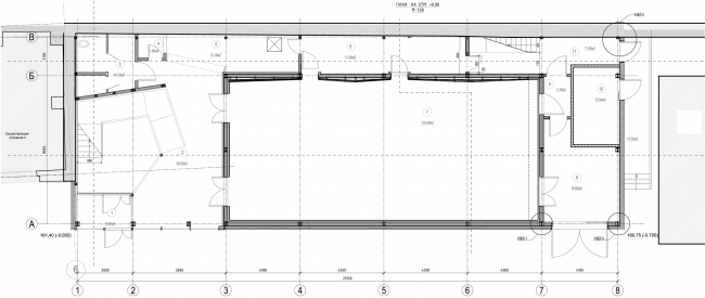 Строение 3 (Малая сцена), план на 0 отметке. «Электротеатр Станиславский» © Wowhaus