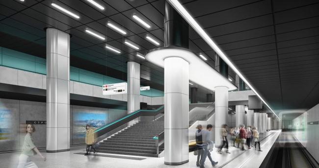 Архитектурное решение для станции «Стромынка». Проект бюро T+T Architects. Изображение предоставлено Агентством стратегического развития «Центр»