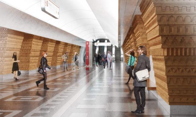 Архитектурное решение для станции «Ржевская». Проект бюро Pole Design. Изображение предоставлено Агентством стратегического развития «Центр»