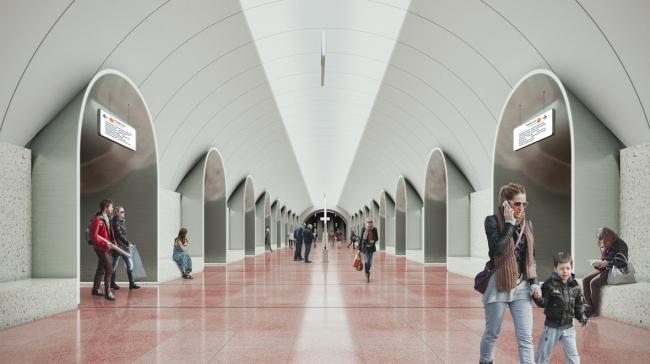 Архитектурное решение для станции «Ржевская». Проект бюро Blank Architects. Изображение предоставлено Агентством стратегического развития «Центр»