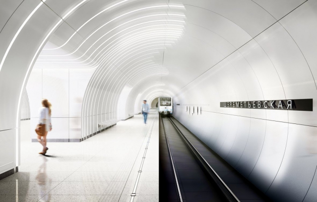 Архитектурное решение для станции «Шереметьевская». Проект бюро Vertex Architects. Изображение предоставлено Агентством стратегического развития «Центр»