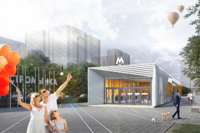 Проект станции метро «Стромынка» © Vox architects