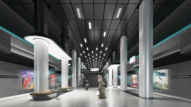 Проект станции метро «Стромынка» © Т+Т Architects