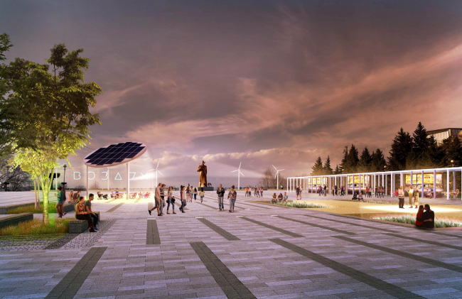 Концепция благоустройства Солдатской площади в Ставрополе. Magic project. Изображение предоставлено КБ «Стрелка»