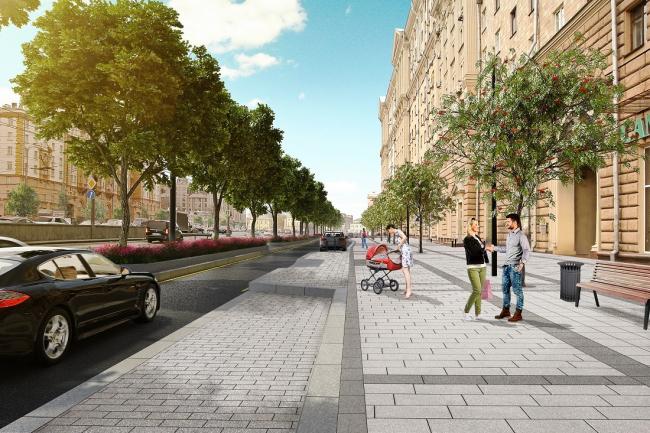 Проект реконструкции Новинского бульвара © КБ Стрелка