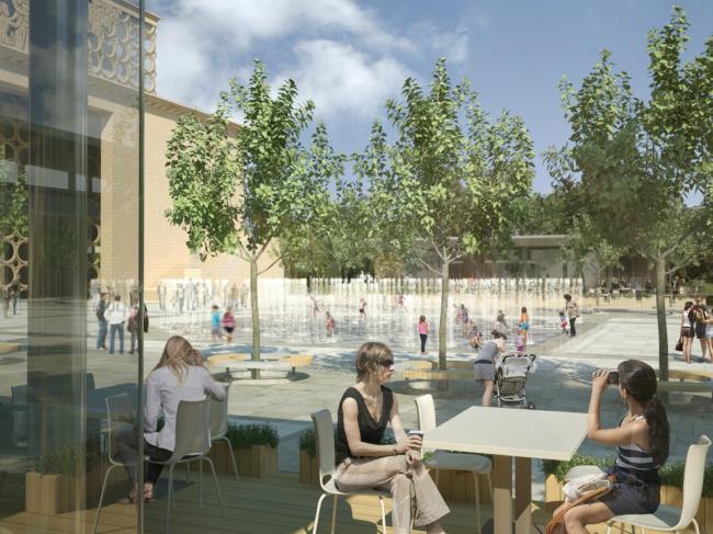 Вид на площадь и кафе перед реконструируемым бассейном «Лужники» © UNK Project