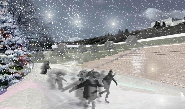 Концепция благоустройства парка Дружбы народов в Ульяновске. OOO «АДЭК». Изображение предоставлено КБ «Стрелка»