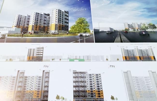 Гостиничный комплекс на проспекте Большевиков, проект © А.Лен / пересъемка с планшета Ирины Бембель