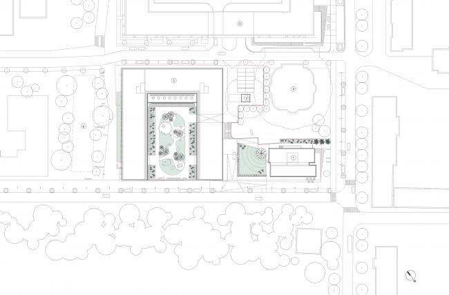 Башня и квартал на Якушева. Генеральный план, © DROM 1. Башня 2. Квартал 3. ТП 4. Строящийся жилой дом 5. Квартал «На Декабристов», компания «Брусника»