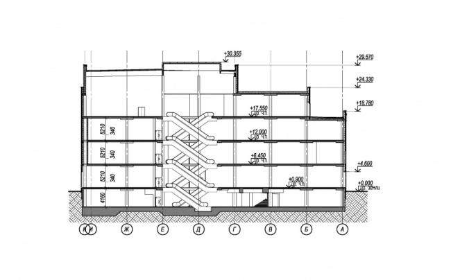 Реконструкция кинотеатра «Байконур». Разрез 1-1 © АМ Сергей Киселев и Партнеры