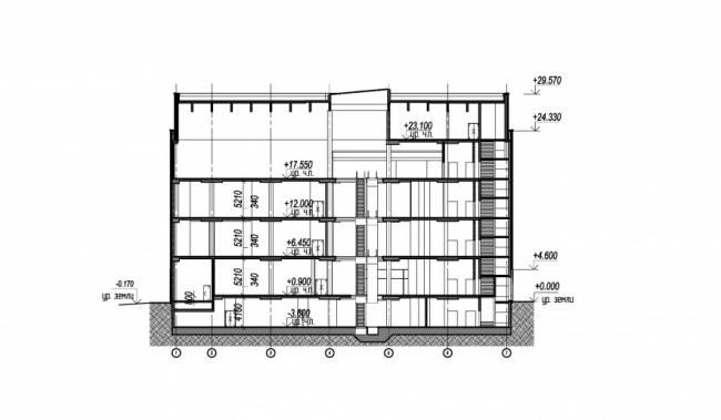 Реконструкция кинотеатра «Байконур». Разрез 2-2 © АМ Сергей Киселев и Партнеры