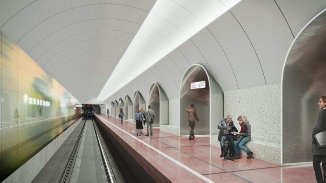 Конкурсный дизайн-проект станции «Ржевская». Blank Architects. Изображение предоставлено Агентством стратегического развития «ЦЕНТР»