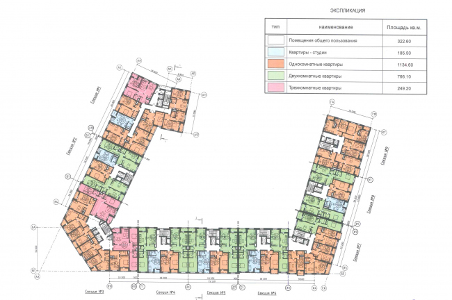 """Severny"" housing project. Unit 7. Plan of the typical floor © DNK ag"