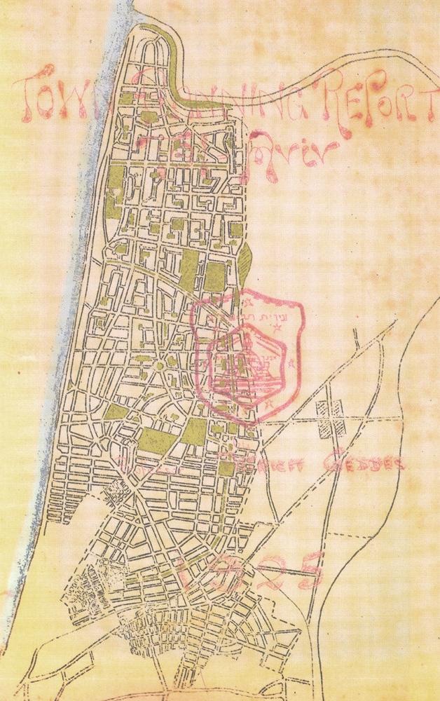 План Патрика Геддеса для Тель-Авива. 1925. Обложка его публикации 1925 года