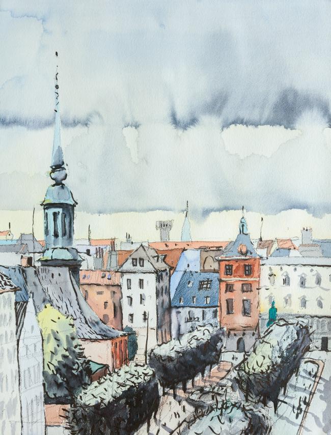 Sankt Annae Plads. Копенгаген, 2016.  Акварель, акварельный фломастер. 45 х 60 © Алексей Ильин