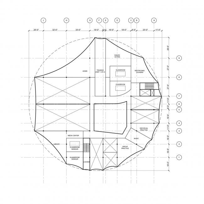 Американская цирковая академия, план. Изображение предоставлено Höweler + Yoon Architecture