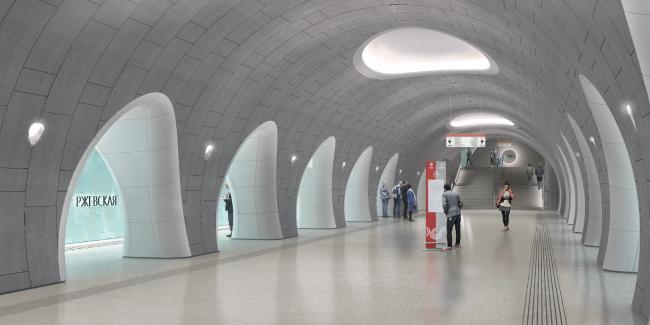 Конкурсный дизайн-проект станции «Ржевская». Консорциум ИТР + DS (Германия) + ludiarchitects. Изображение предоставлено Агентством стратегического развития «ЦЕНТР»