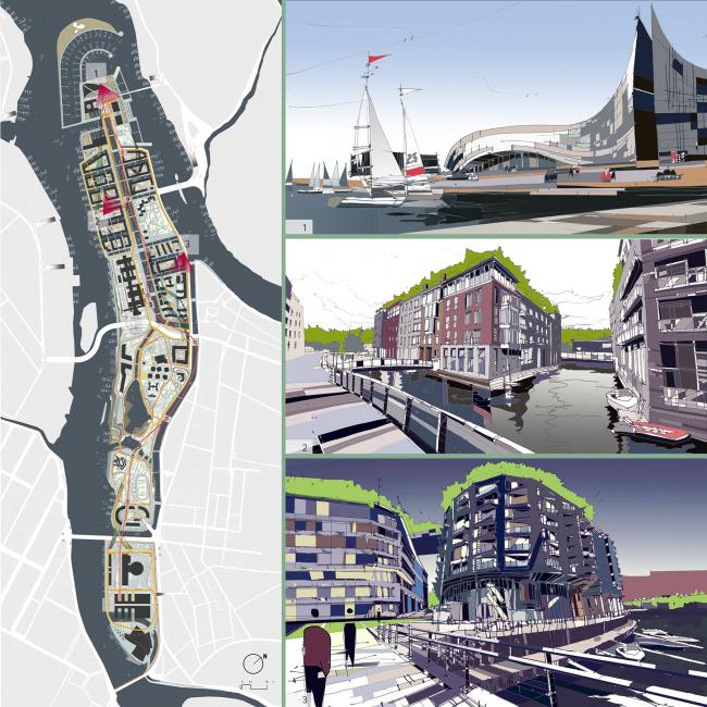 «Обитаемый остров» (проект развития Петровского острова в Санкт-Петербурге) ©  Архитектурное бюро Archido
