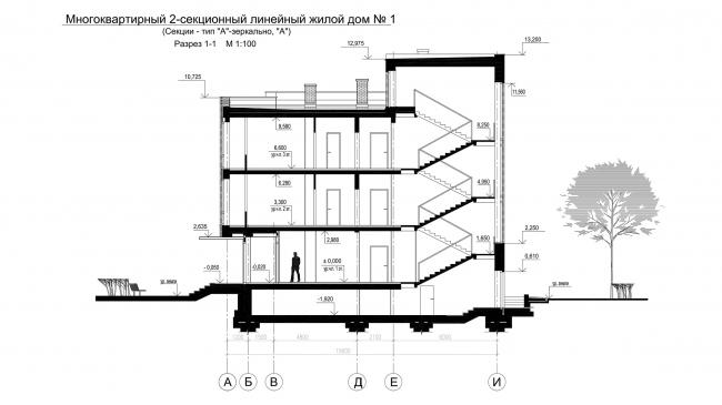 """Andersen"" residential complex. Section 1-1 © Arkhitekturium"