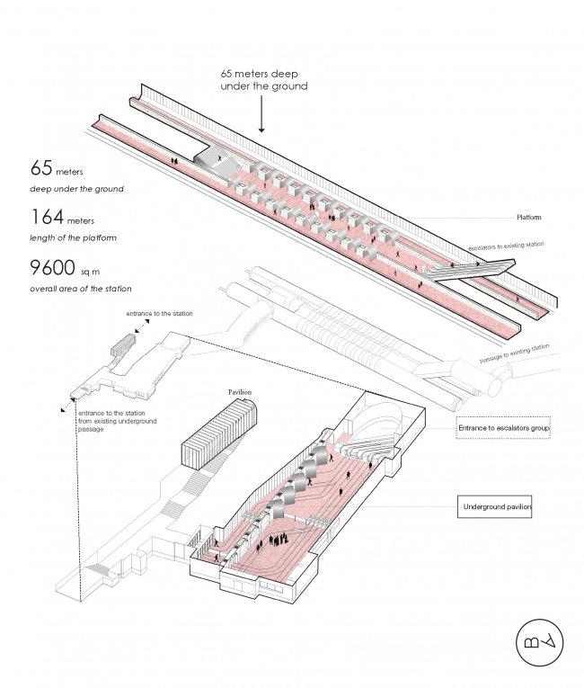 """Rzhevskaya"" metro station. Axonometric drawing © Blank Architects"