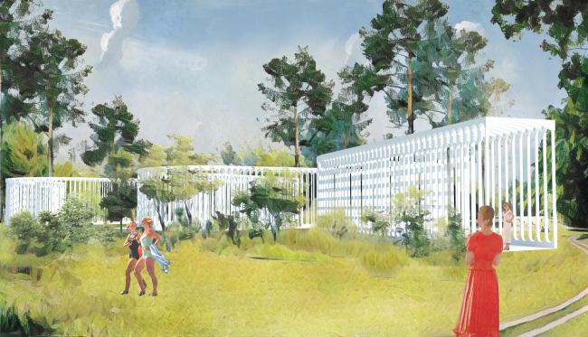 """Park of Five Seas. Open-air exhibition pavilion """"Vychegda""""  © Kleinewelt Architekten + Citizenstudio"""