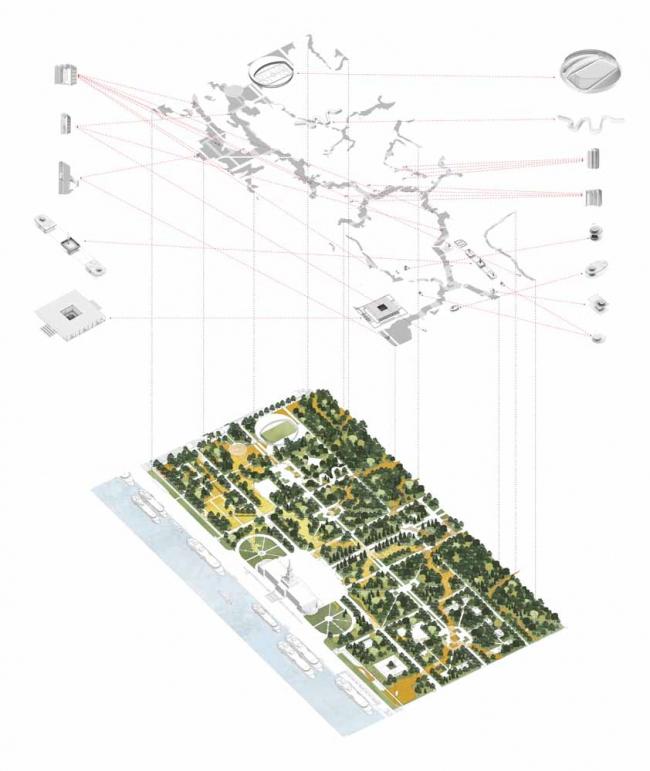 Park of Five Seas. Masterplan © Kleinewelt Architekten + Citizenstudio