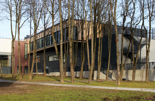 Yard with a lime tree avenue turned towards the Oka. Behind the trees one can see the northwest wall of the main hall. Innovation and Culture Center in Kaluga.  Photograph © Julia Tarabarina, Archi.ru