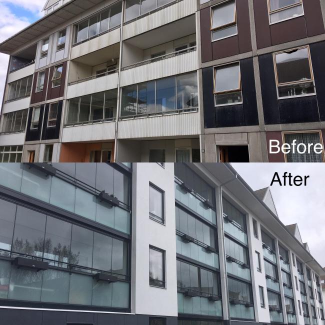 Вид городских фасадов до и после. Фотография предоставлена компанией LUMON