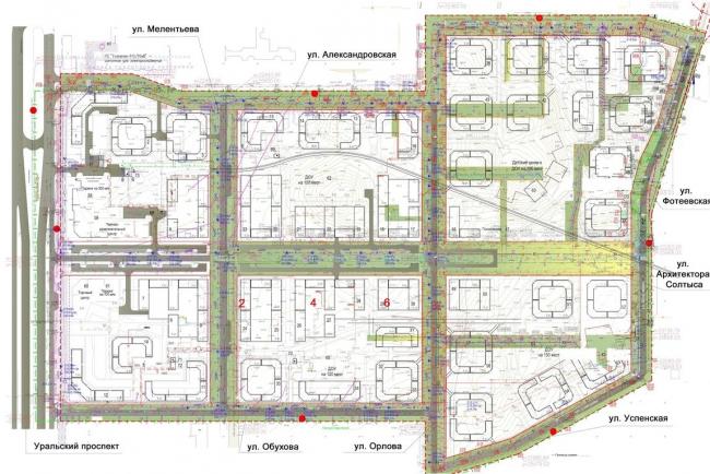 Жилой комплекс «Александровский». Схема размещения существующих инженерных сетей © Архстройдизайн АСД