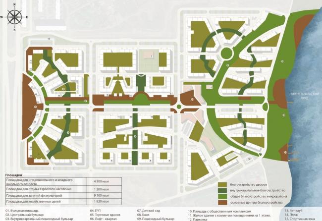 Жилой комплекс «Александровский». Схема благоустройства © Архстройдизайн АСД