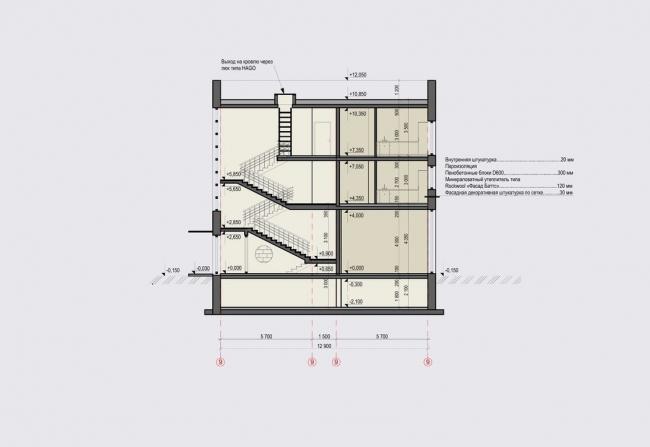 Жилой комплекс «Александровский». Разрез 1-1 © Архстройдизайн АСД