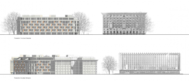 Residential house on the Esperova Street. Top: Development drawing along the Esperova Street, view from the northeast Bottom: Development drawing along the Esperova and Solnechnaya streets, view from the northwest side © Anatoly Stolyarchuk architectural