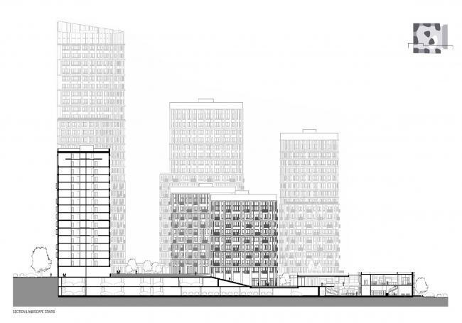 """""""Forum-City"""" housing complex. Section view © LEVS architecten"""