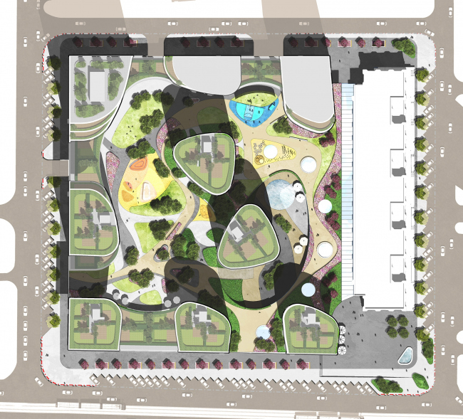 """""""Forum-City"""" housing complex. Landscape design © LEVS architecten"""