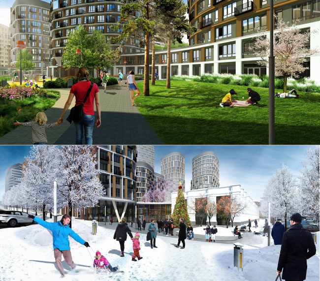 """Forum-City"" housing complex. Landscape design © S&P Architektura Krajobrazu"