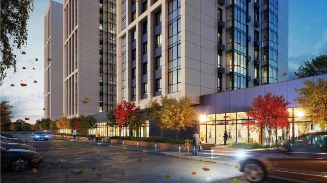ЖК «Олимп». Общий вид арендных помещений 1 этажа © sp architects