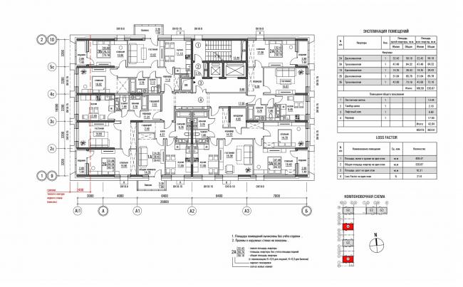 ЖК «Олимп». План типового этажа секций А1, А3 © sp architect
