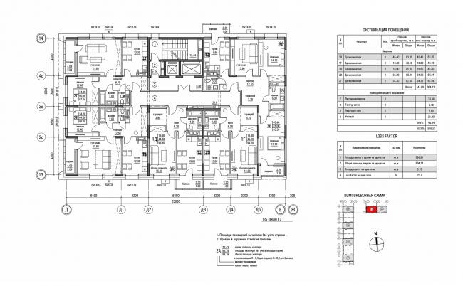 ЖК «Олимп». План типового этажа секции Б1 © sp architects