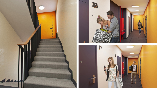 ЖК «Олимп». Междуэтажная лестница. Общеквартирные коридоры © sp architect