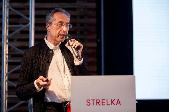 Сергей Чобан на лекции «История архитектуры: Потери и приобретения». Фотография © Василий Буланов