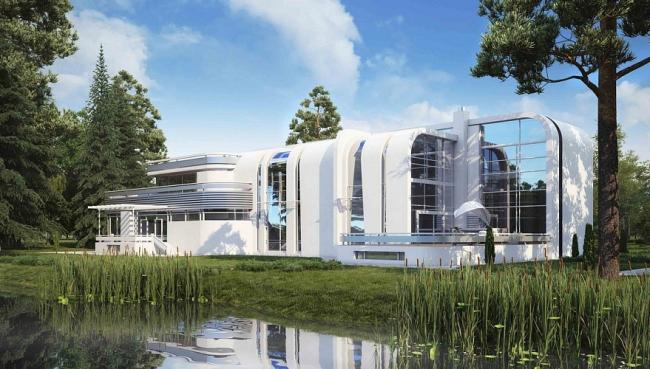 Загородная резиденция «Дом у озера» © Московское проектное бюро