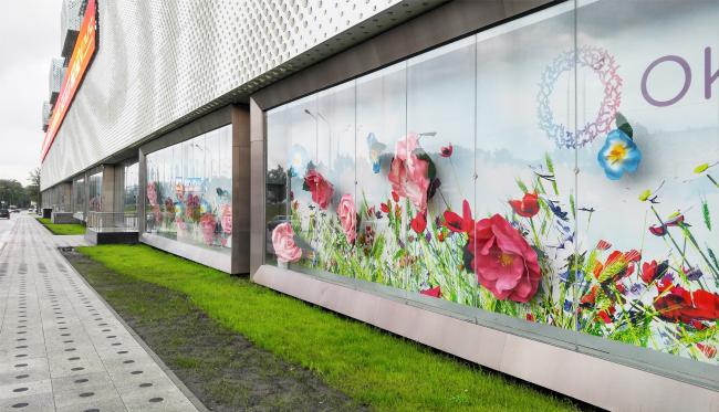 """Shop windows"" along the backup street of the Kutuzovsky Avenue. ""Oceania"" multifunctional center (facade solutions) © Asadov Architectural Bureau. Photograph © Julia Tarabarina, Archi.ru"
